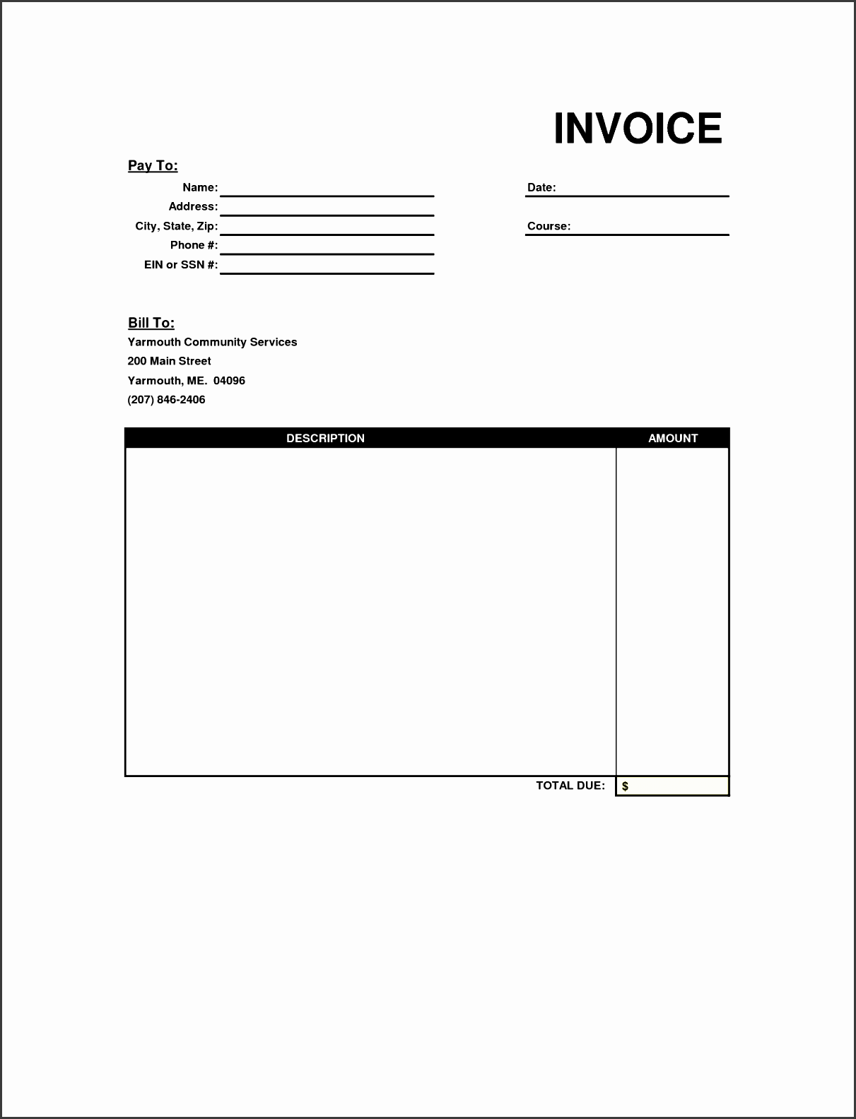 blank invoice template free free business template