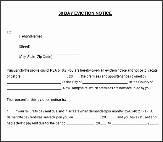 sample 30 day notice template 8 free documents in pdf word throughout printable 30 day eviction notice