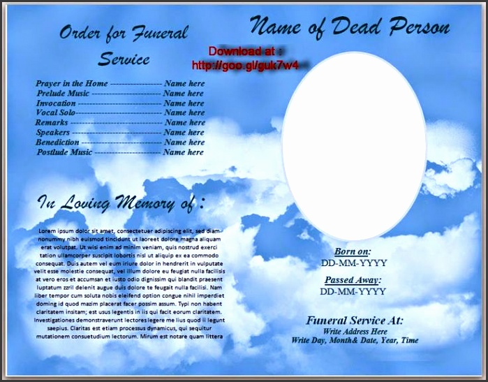 11 printable funeral program template sampletemplatess for Free editable funeral program template