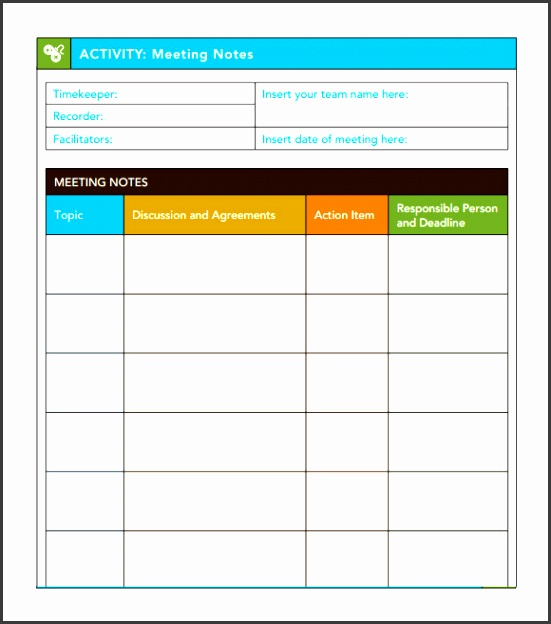 meeting notes template with action items