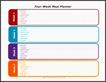 plan for four weeks of meals with this printable monthly planner free to and