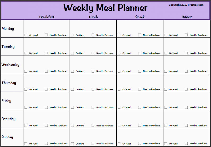 weekly meal planner template fmasnbno