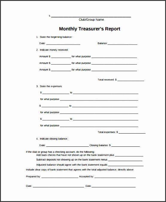 treasurer report template 10 free sample example format free