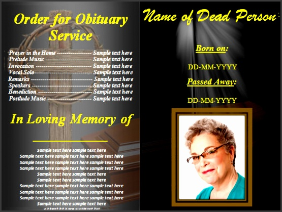 free funeral obituary program template for mac