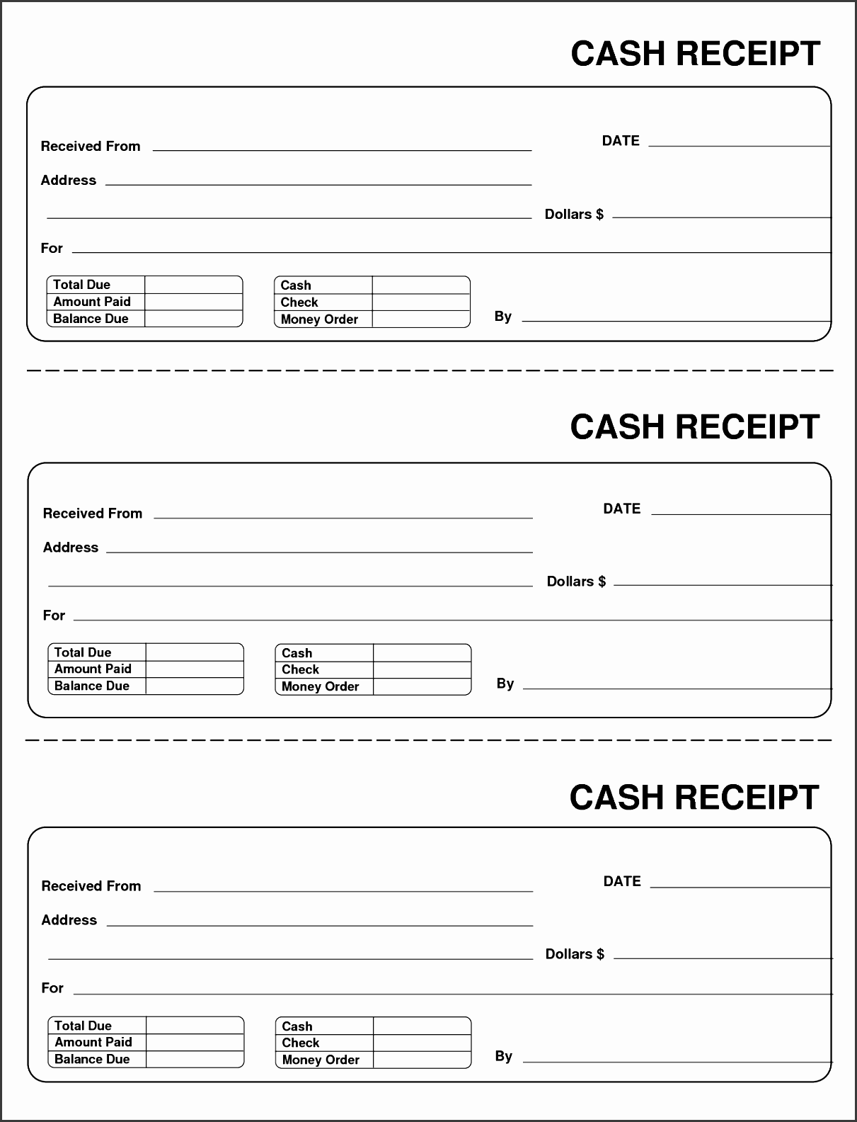 home reciept free printable small cash receipt template and form sample