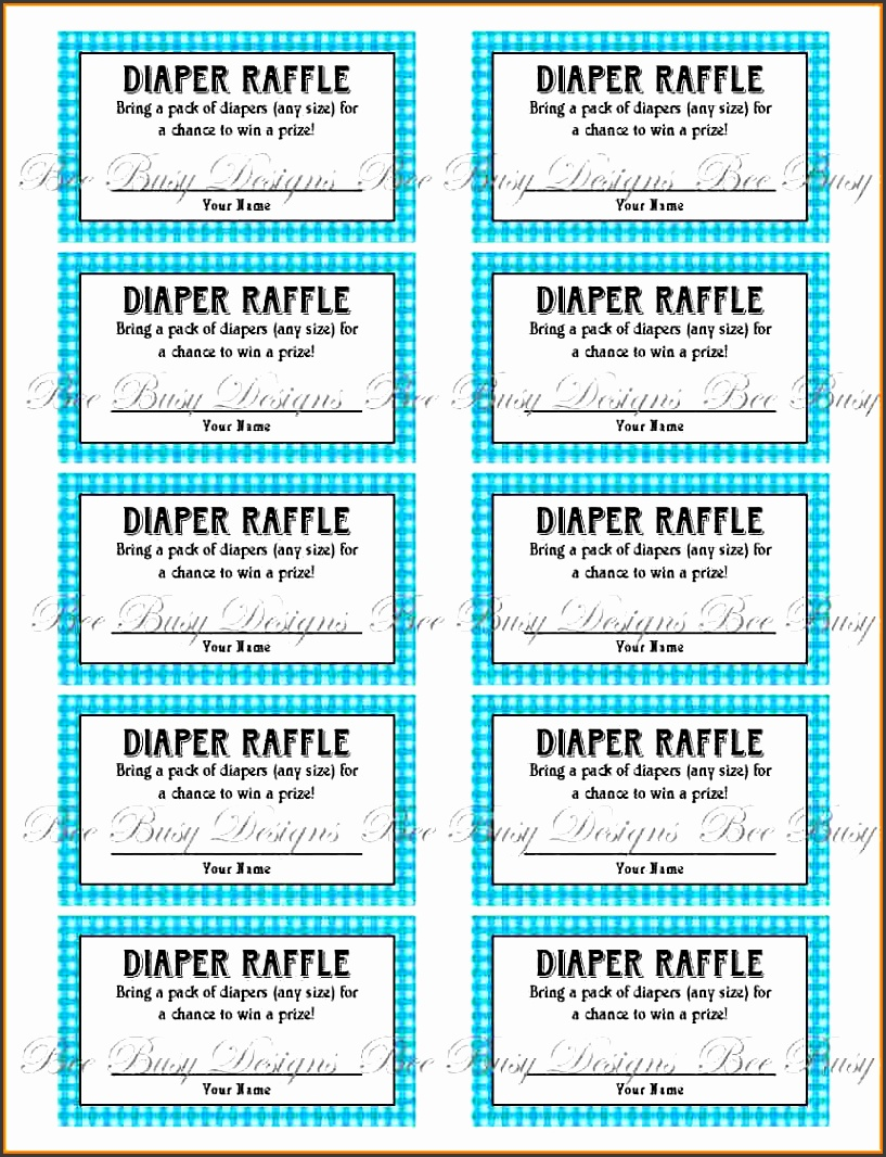 printable blue gingham diaper raffle tickets great for baby showers