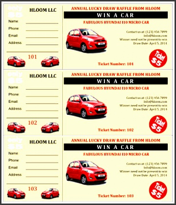 vroom car raffle ticket template