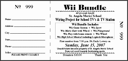 st angela wii raffle ticket