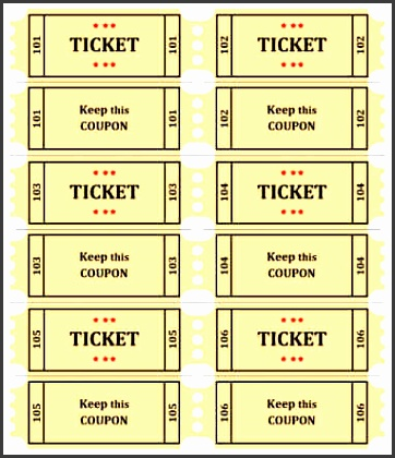 raffle ticket with coupon
