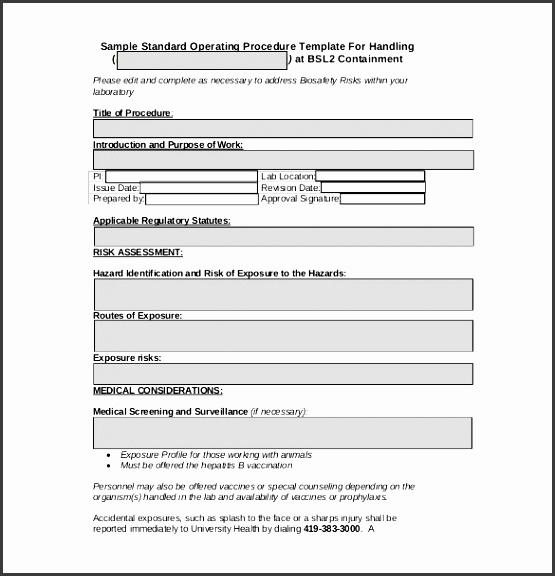 standard operating procedure form