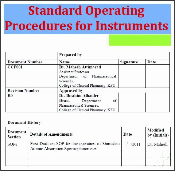 standard operating procedure template image 11