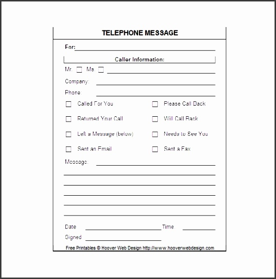 5 printable telephone message template