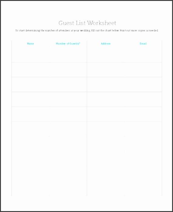 wedding guest list worksheet template
