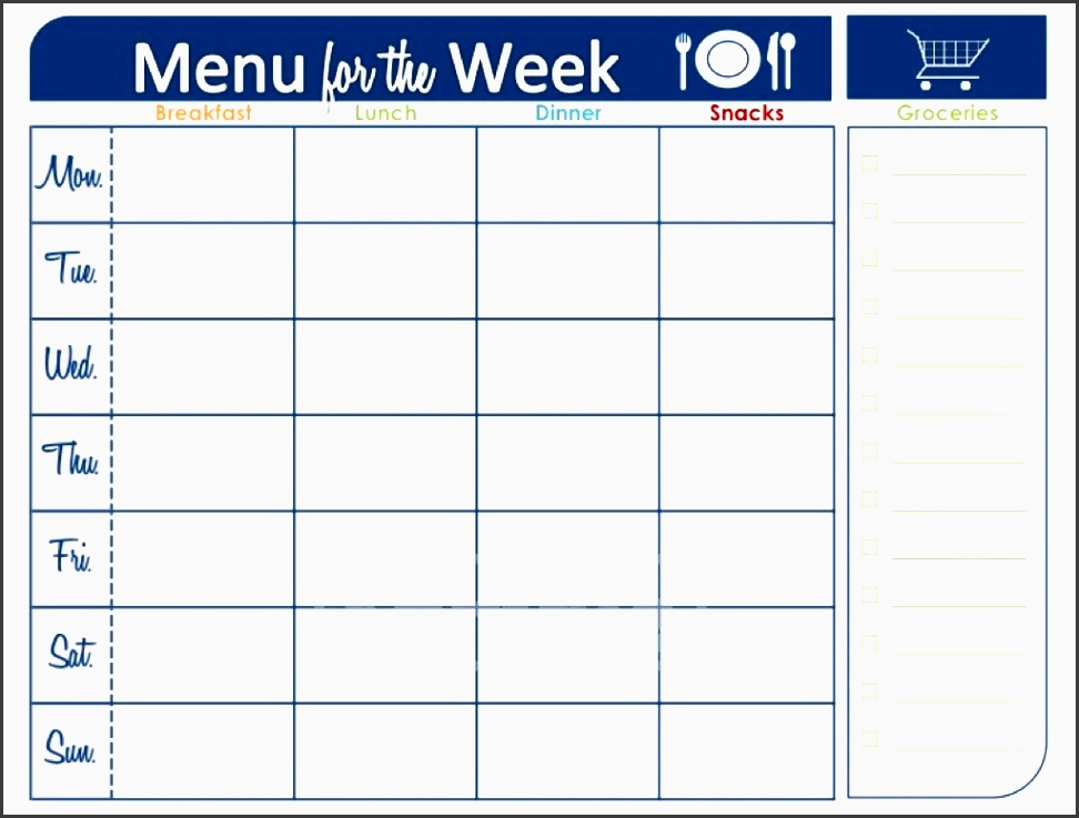 7 printable weekly meal planner