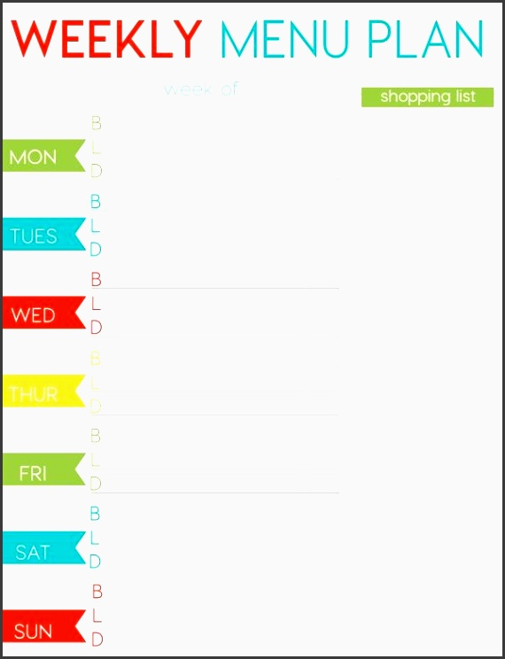 Free Weekly Menu Planner Printable Weekly Menu Planners Menu  Free Weekly Menu Templates
