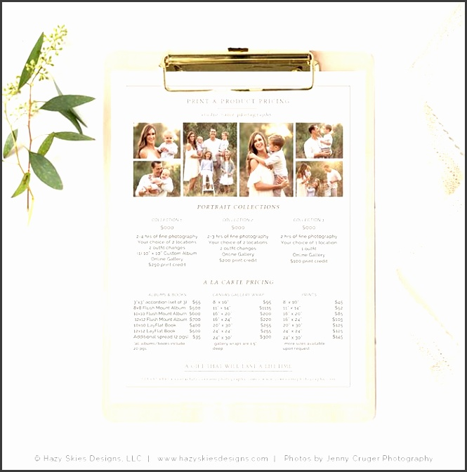 photography print product pricing template organic
