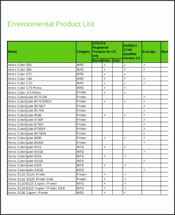 environmental product list template
