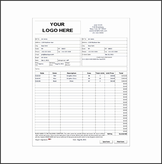 wholesale purchase order form template
