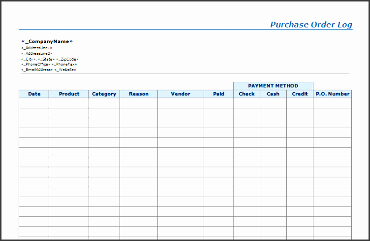 purchase order log template