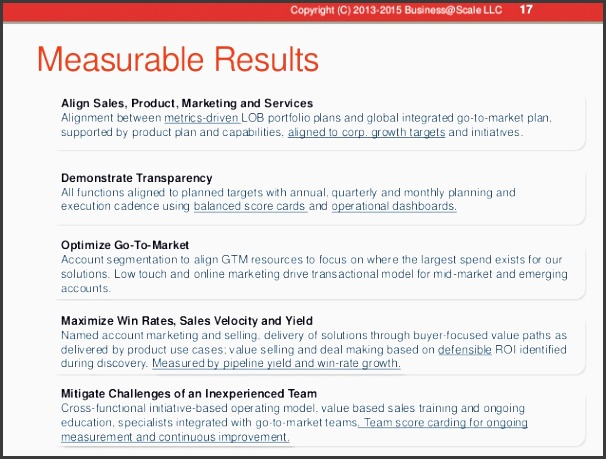 17 measurable results align sales product