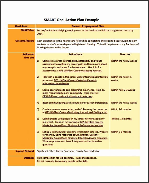 career goal action plan sample free