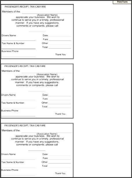 taxi receipt template for excel pdf and word