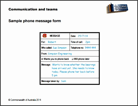 telephone message form template