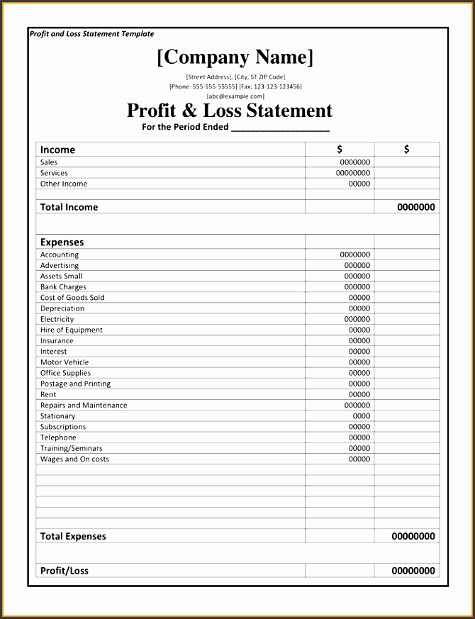 Ambitious image within free printable profit and loss statement