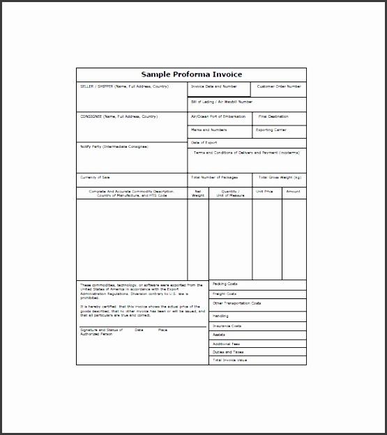 sample proforma invoice template
