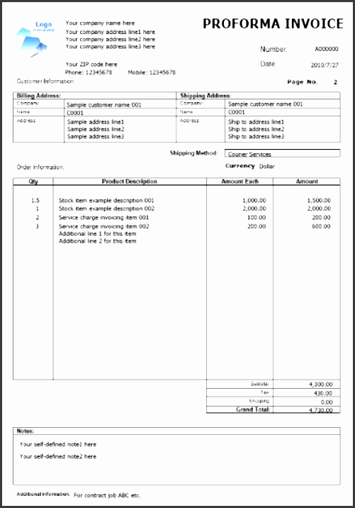 8 proforma invoice template editable