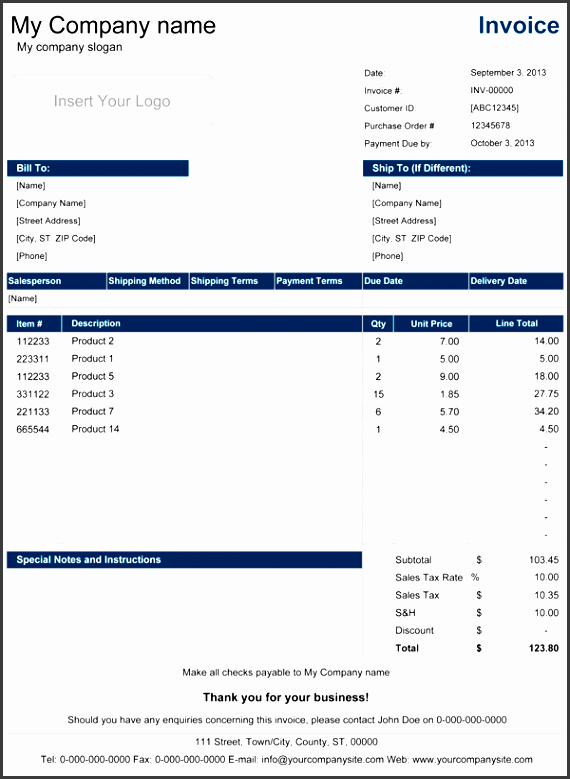 sales invoice with price list