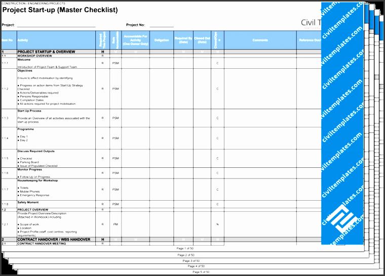 project start up master checklist xls