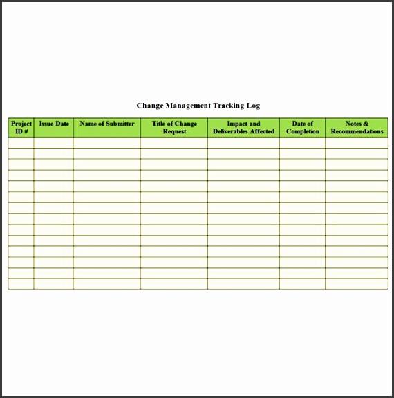 screenshot change management tracking log
