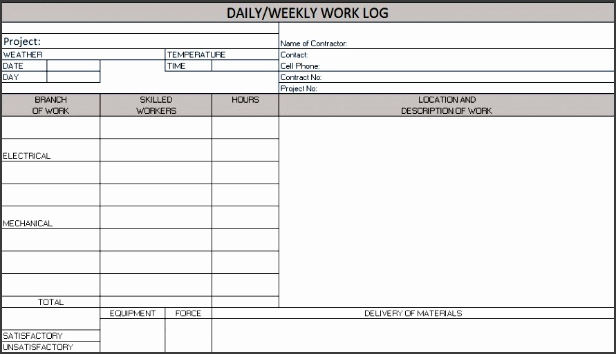 daily weekly work log  excel template