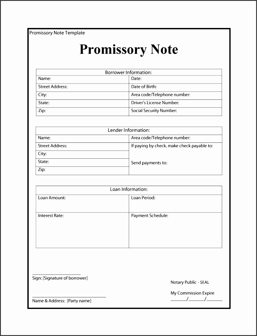 promissory note template 32