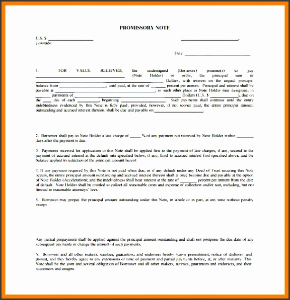 promissory notes templates editable promissory note template colorado pdf sample caption