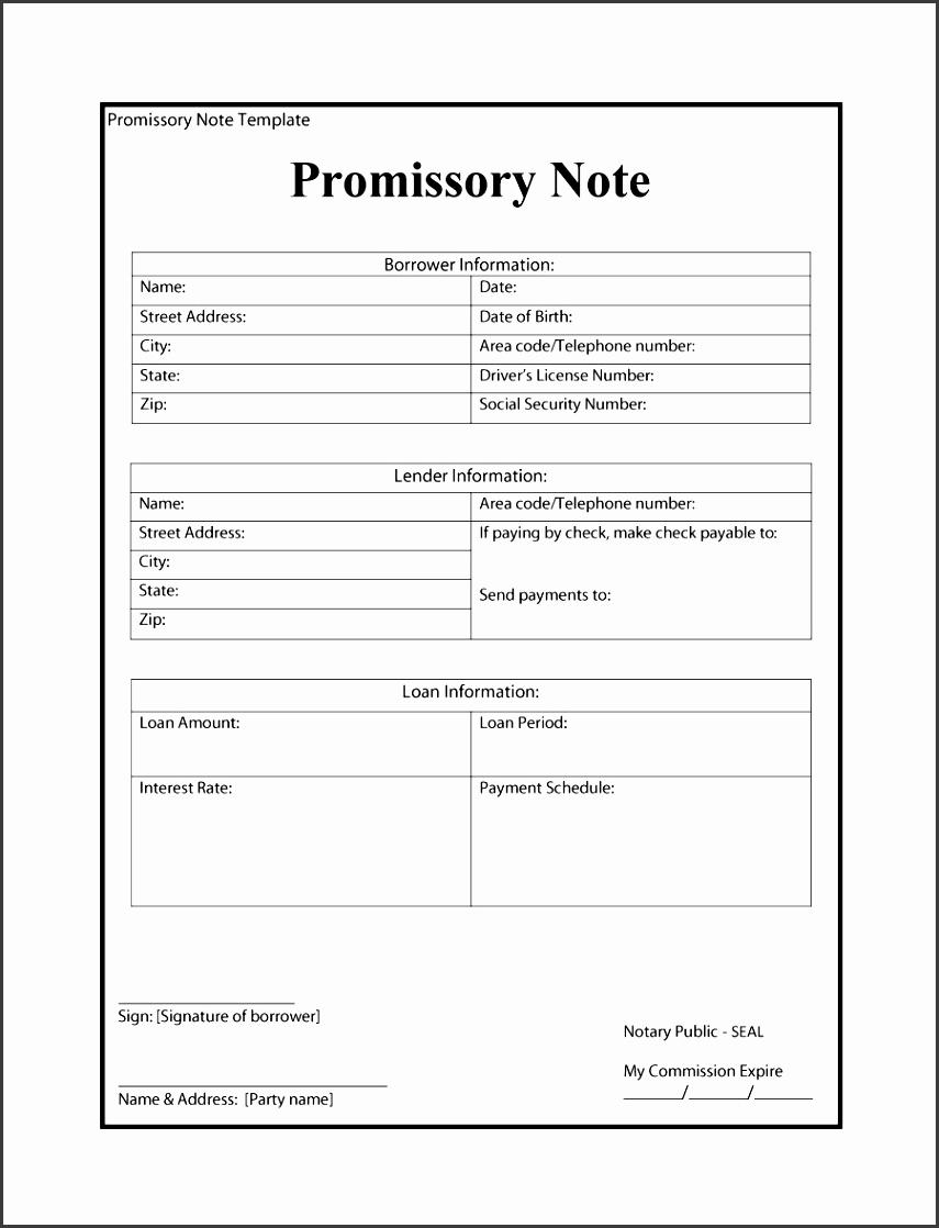loan promissory note template