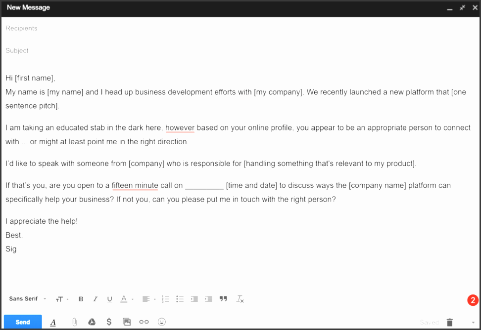 cold email template 2