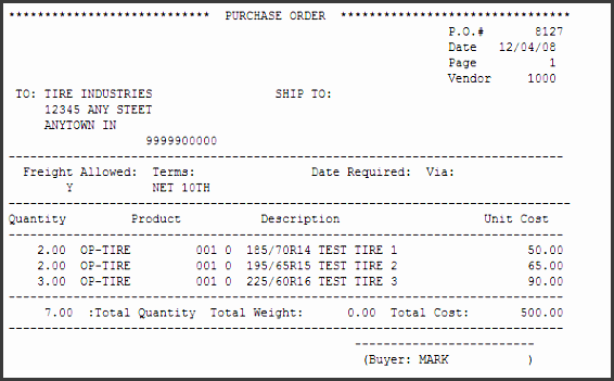 example printed purchase order