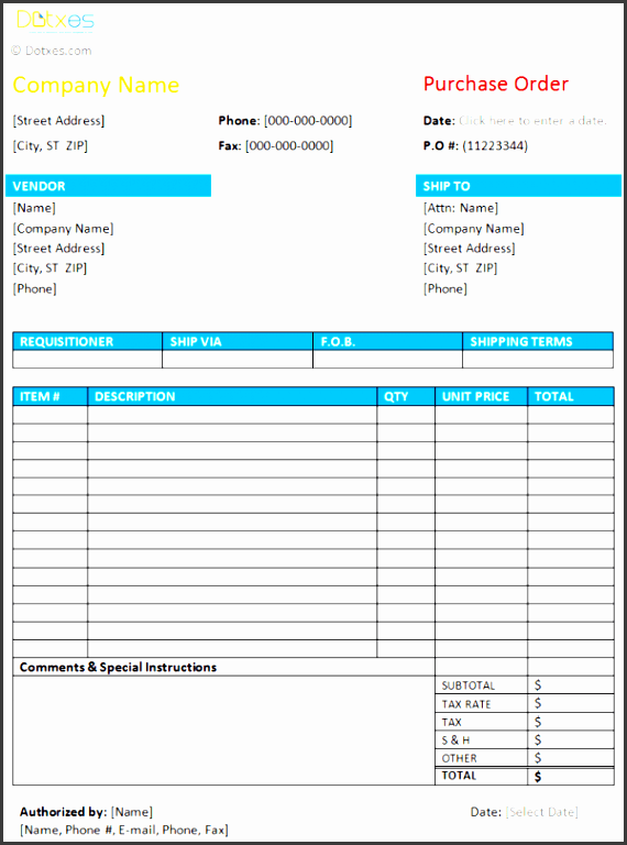 purchase order format licensed by  dotxes