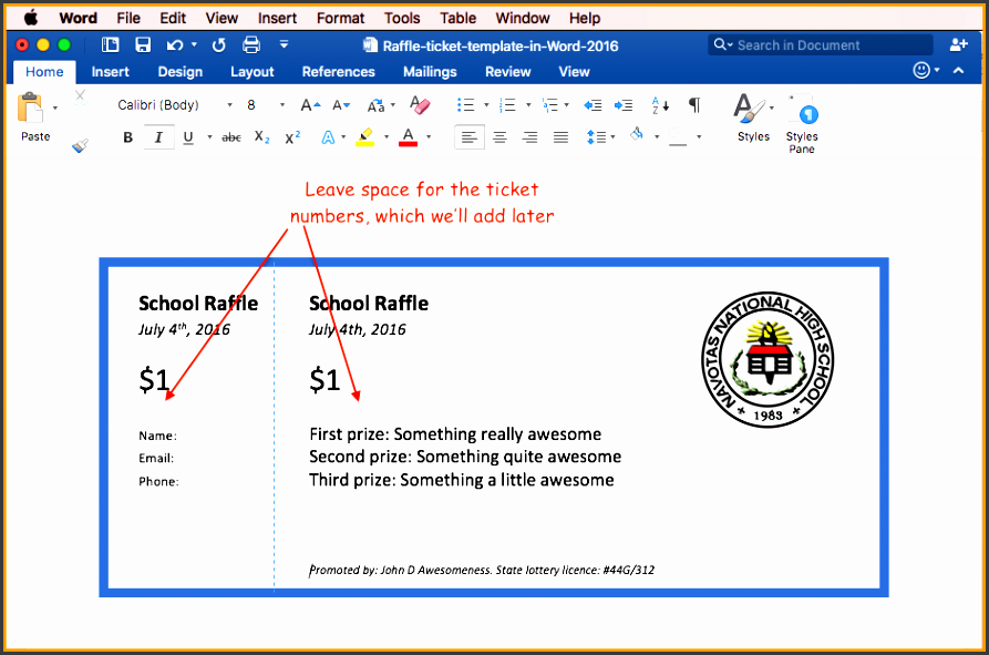 raffle ticket creator raffle ticket template for office 2016 step2