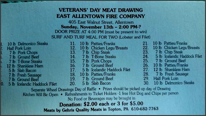 ticket grants you admission chance at 30 meat prizes hot dog door prize free beverages draft beer water