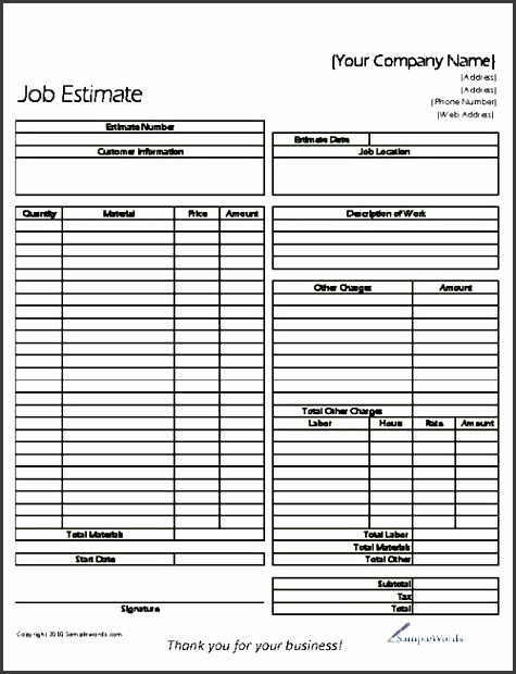 the basic job estimate form is to be used by any type of business contractor painter or person that may be in business for themselves to provide a