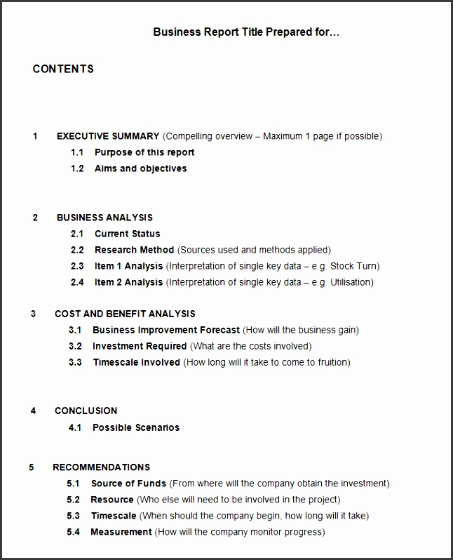 business report outline template 17 business report templates free sample example format
