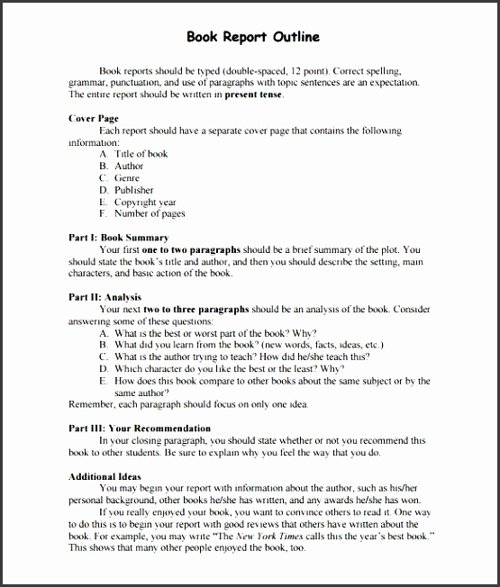 sample book report outline template pdf