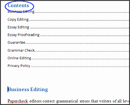 the table of contents have been inserted into the head of the document