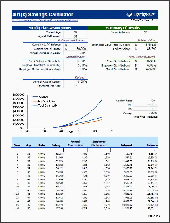 401k calculator screenshot