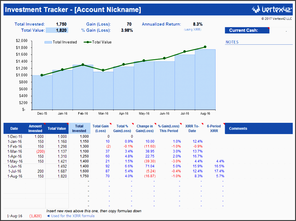 simple investment tracker excel templates calendars