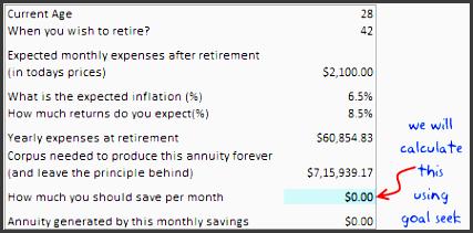 retirement planning worksheet using excel