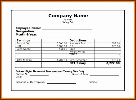 salary statement templatepany paystub salary slip template free word format